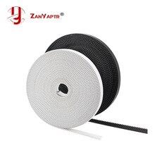 5 M 10 m/grup PU ile Çelik Çekirdek GT2 Kemer Siyah & Beyaz Renk 2GT zamanlama kemeri 6mm Genişliği 10 M bir Paketi için 3d yazı...