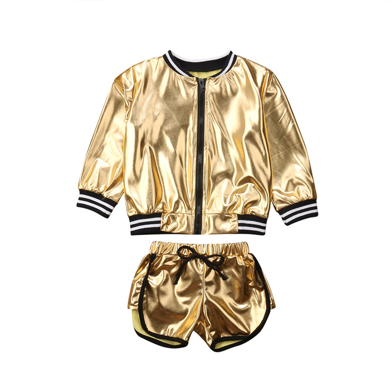>New Style Bling Bling 2Pcs Toddler <font><b>Girls</b></font> Golden Jacket Coats+Shorts <font><b>Outfits</b></font> Clothes Set Childrens Age 1-6Y <font><b>Soft</b></font> Zipper Clothing