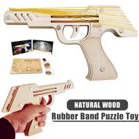 3D Wooden Puzzle DIY Toy Gun Simulation Bullet Rubber Band Launcher Handgun Pistol Submachine Shooting Guns Kids Toys Model