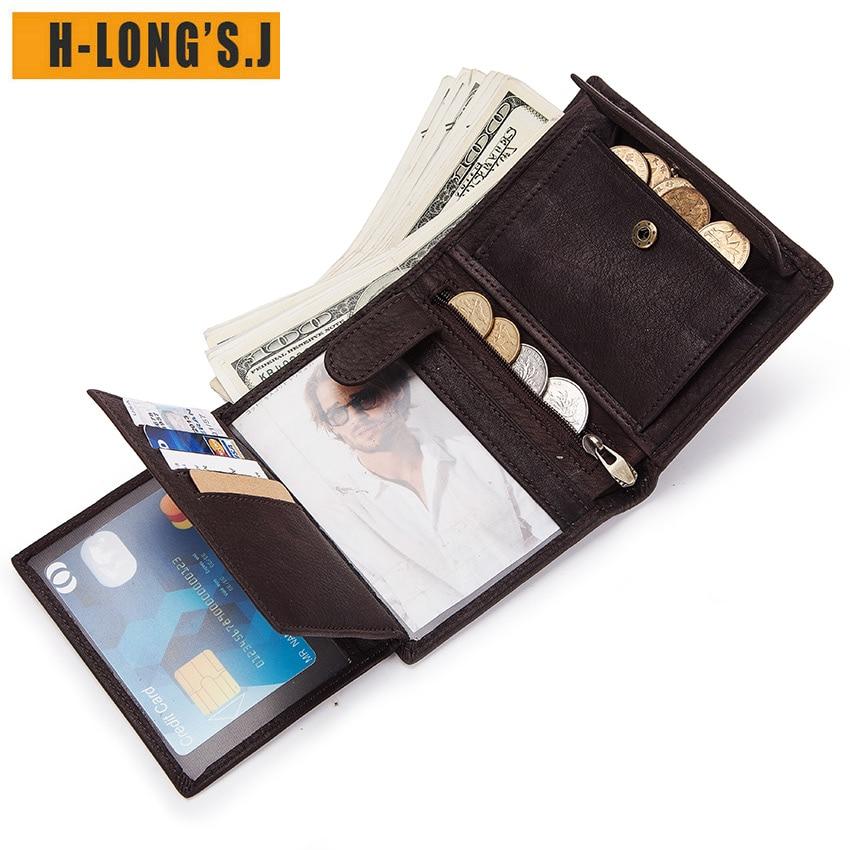 H Long'S.J Genuine Leather Wallet Men Coin Purse Rfid Casual Magic Walet PORTFOLIO MAN Portomonee Mini Vallet card Organizerizer