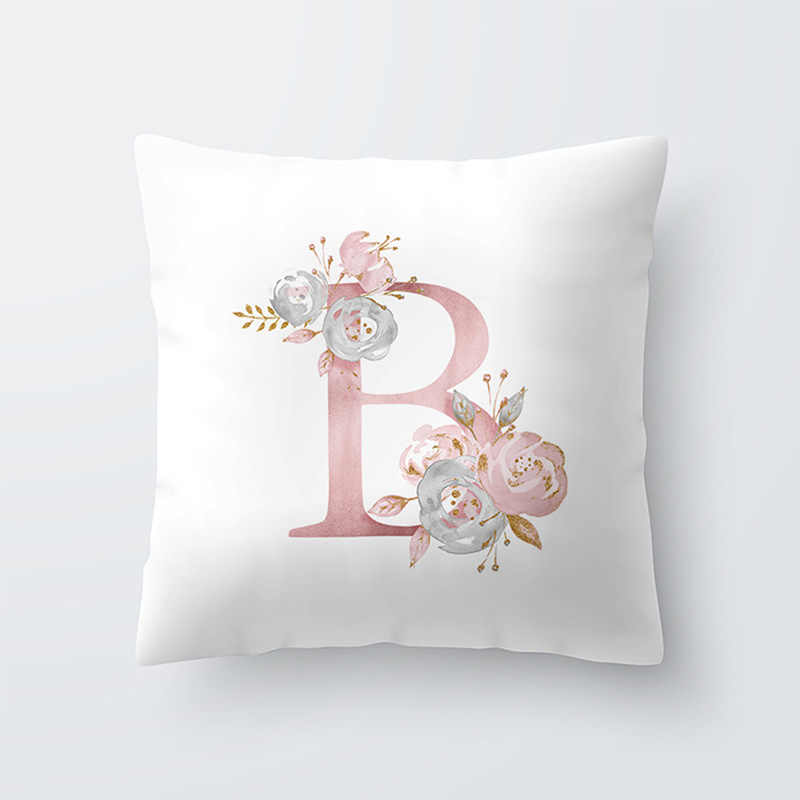 Letter Pillow Cover 45x45cm Room  English Alphabet For  Home goods 1PC Flower Pillowcase Polyester