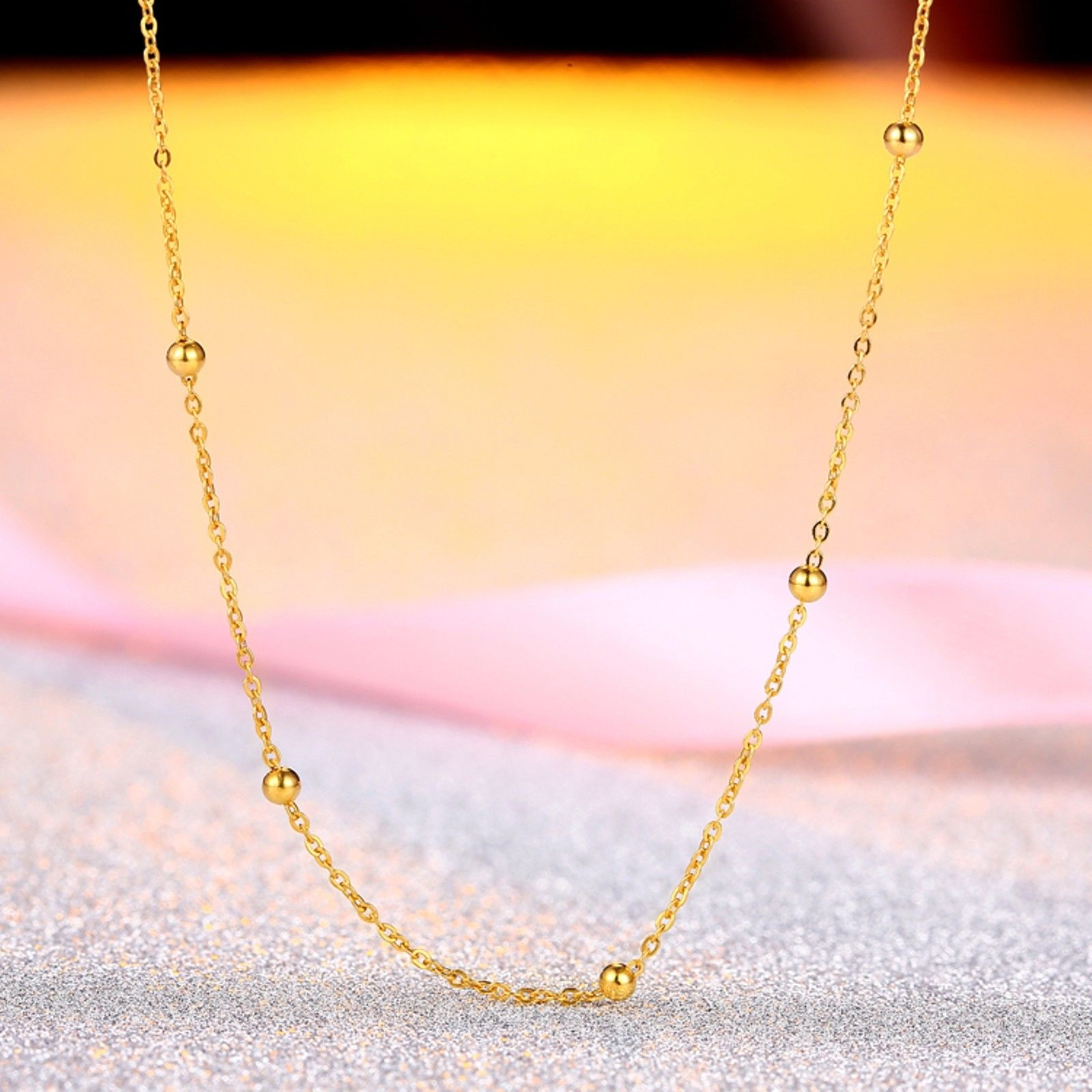 New Real 18k Yellow Gold Chain Women Lucky O Beads Link Necklace 18inchNew Real 18k Yellow Gold Chain Women Lucky O Beads Link Necklace 18inch