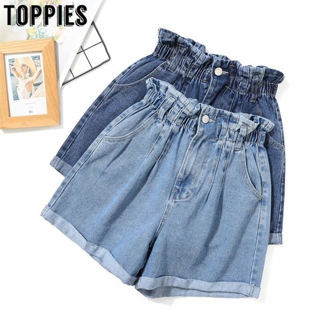 גבוהה מותן Crimping כחול ג 'ינס מכנסיים קצרים אלסטי מותניים קיץ מכנסיים קצרים Loose ישר ג' ינס 2019 קוריאני נשים