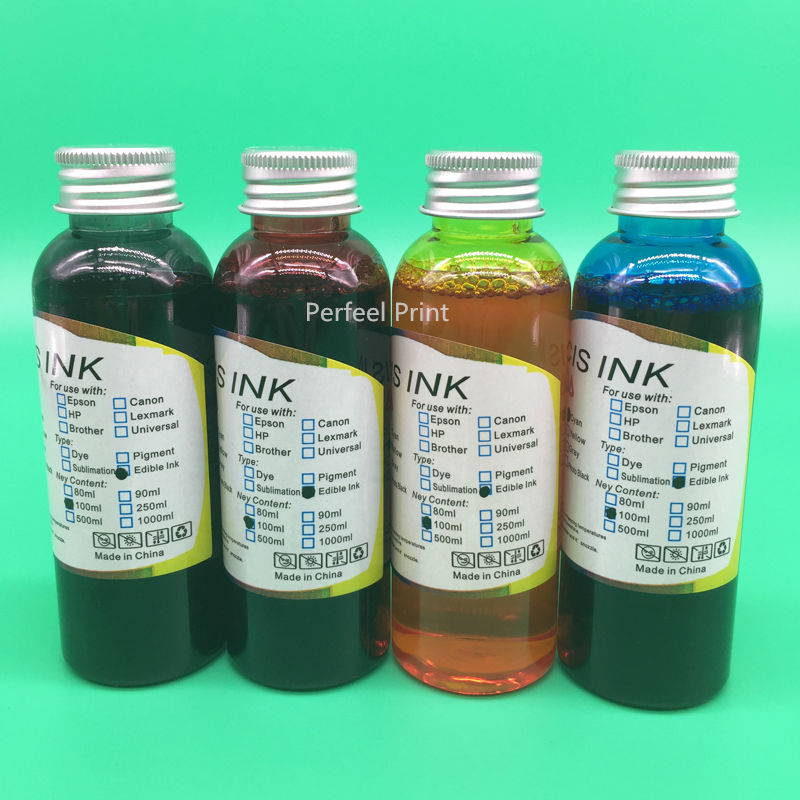 4 Color x 100ML Universal Edible Ink For Epson Desktop Inkjet Printer For Cake Chocolate Food High Quality