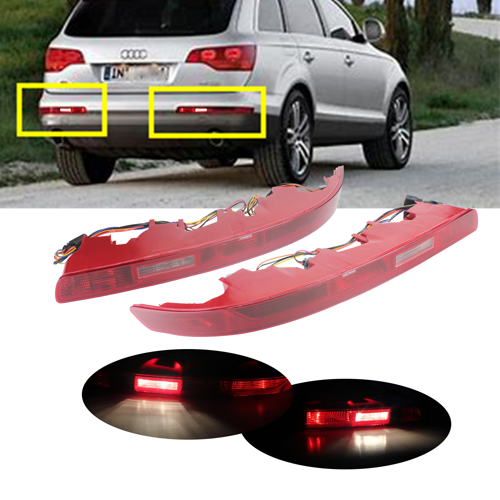ANGRONG 2x For Audi Q7 4L 2006-2015 Rear Bumper Reflector Tail Brake Stop Light Lamps With The Halogen Bulb