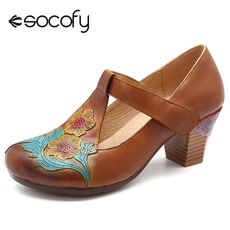 Socofy Retro T-strap Women Pumps Shoes Woman Handmade Flower Genuine Leather Shoes Block Heel Hook&Loop Vintage Ladies Pumps New