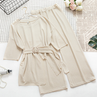 Casual Knitting Women Two Pieces Set Women Wide Leg Ankle Pants + Half Sleeve Long Sweater With Sashes Matching Set Twinset