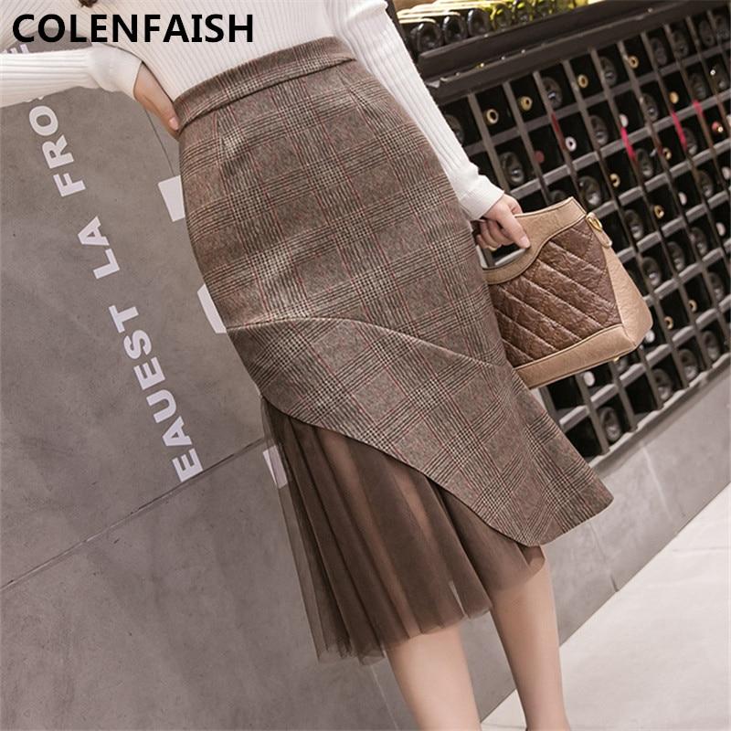 2018 fashion Autumn and winter Retro plaid Folds lace skirt Irregular High waist sexy Forking Women