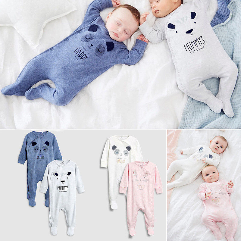 Infant Cartoon Bear Baby Clothes Girl&Boys Long Sleeve Daddy Mummy Baby Rompers Babygrow Sleepsuits Baby Romper 0-18 Months