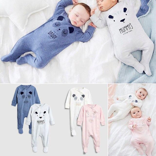 תינוקות קריקטורה דוב תינוק בגדי ילדה & בנים ארוך שרוול אבא אמא תינוק Rompers Babygrow Sleepsuits תינוק Romper 0- 18 חודשים