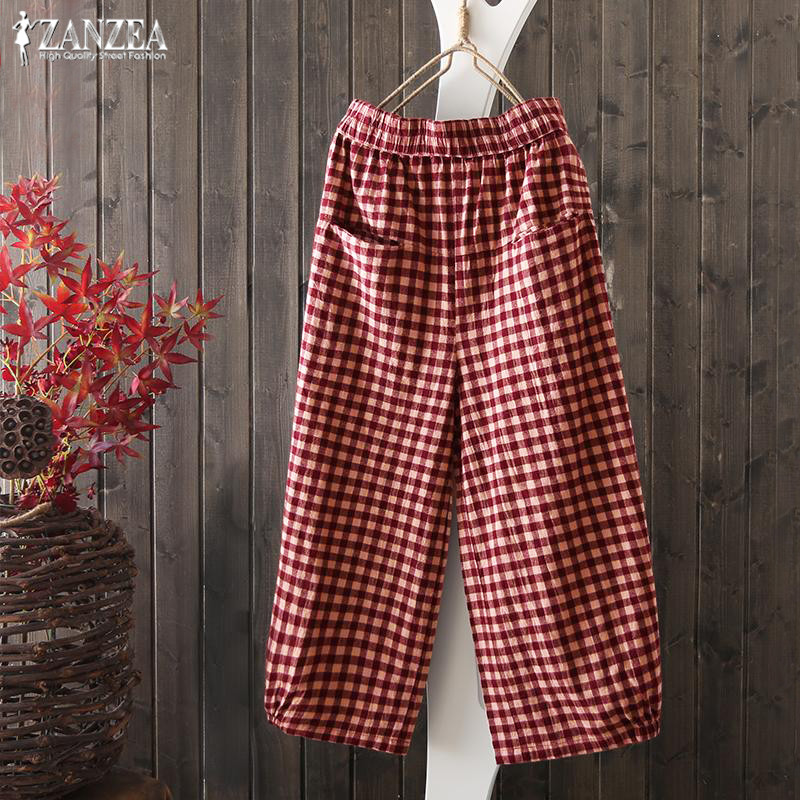Women's Plaid   Pants   ZANZEA 2019 Vintage Mid Waist   Wide     Leg     Pants   Female Casual Cropped Pantalon Plus Size Check Trousers S-5XL