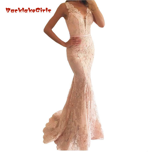 Mermaid Evening   Dress   V-Neck Appliqued With Lace Beaded See Through Vestido Longo   Prom     Dresses   luxury pink Evening Gown