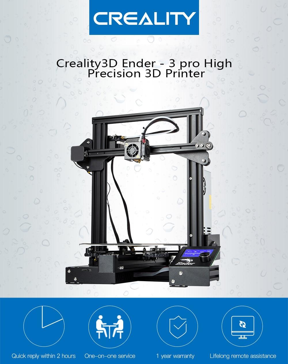 Creality3D Ender-3 Pro Haute Précision 3D Imprimante DIY Kit Acier Cadre LCD Affichage Stable Plus Sûr Que la Précédente