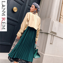 LANMREM 2019 Plaid Contrast Color Back Green Pleated Overcoat Female's Trench Long