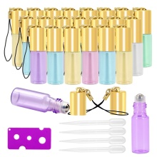 Glass Roller Bottles - 5ml, 24 Pack, Pearl Colored by Mavogel, Stainless Steel Roller Balls, Essential Oil Opener and Droppers essential oil opener key tool remover for roller balls and caps bottles plastic opener roller bottle corkscrew tool