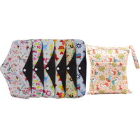 Cloth Sanitary Towel Bamboo Charcoal Portable Washable Menstrual Mama Pads With Storage Bag For Ladies Women Girls