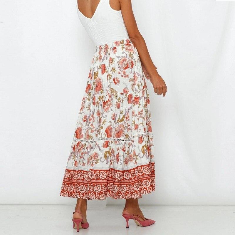 BEFORW 2019 Boho Floral Print Long Skirt Women Lace Up Summer Beach Casual Maxi Skirts Female Skirt