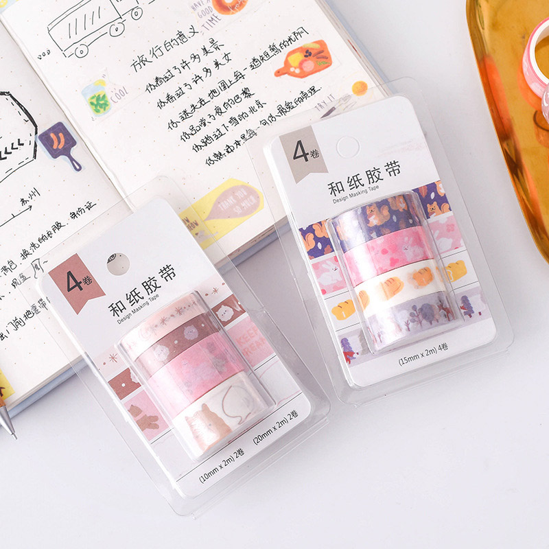 4Pcs/Set Kawaii Masking Tape Set Cute Cherry Washi Tape Decorative Adhesive Tapes For Kids DIY Scrapbooking Diary Photos Albums