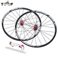 26'' 24H Disc Brake Bike Wheel MTB Mountain Bicycle Bike Wheelset Hubs Rim Front Rear Set Lightweight Black/Red Bicycle Wheel