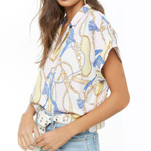 2019 Summer Blouse Women Chain Print Batwing Short Sleeve Chiffon V-Neck Ladies Office Shirt Casual Loose Tops Mujer