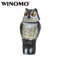 WINOMO Horned Owl Pest Deterrent Rotating Head Scarecrow Pest Control Repellents Owl Decoy