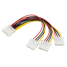 High Quality 4Pin IDE Power Cables HY1578 4 Pin Molex Male to 3 port Molex IDE Female Power Supply Splitter Adapter Cable New