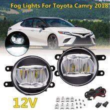 1 пара галогенные передний бампер автомобиля Противотуманные фары для Toyota Camry XSE 2018 с переключателем кабель лампа прозрачные линзы бампер свет
