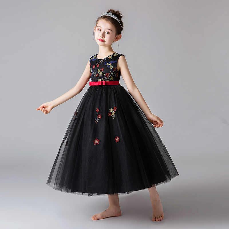 Черное платье для выпускного, возраст от 6 до 16 лет, летнее винтажное рождественское платье для девочек-подростков Детские платья с кружевными цветами для девочек