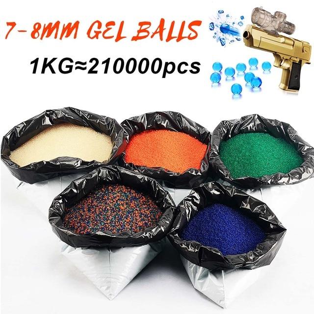 1KG/Lot Gel Balls Water Bead 7-8mm Crystal Hardened Bullet 5 Colors for Toy Gu n Home Decor Gel Gu n Blasting Toy Gel Balls Set