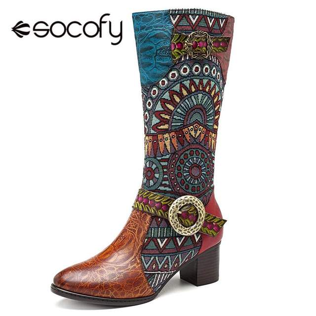 Socofy Retro Genuine Leather Knight Cowgirl Boots Women Shoes Woman Cowboy Western Mid-calf Boots Women Zipper Block Heels Botas