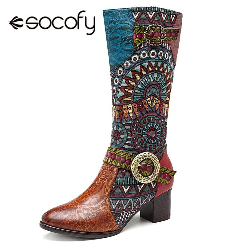 Socofy Retro cuir véritable chevalier Cowgirl bottes femmes chaussures femme Cowboy Western mi mollet bottes femmes Zipper bloc talons Botas-in Bottines from Chaussures    1