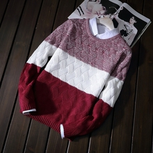цены на 2019 New Fashion Man Split Joint Sweater Loose Coat Round Neck Student Teenagers Keep Knitting Unlined Upper Tide Garment Black  в интернет-магазинах