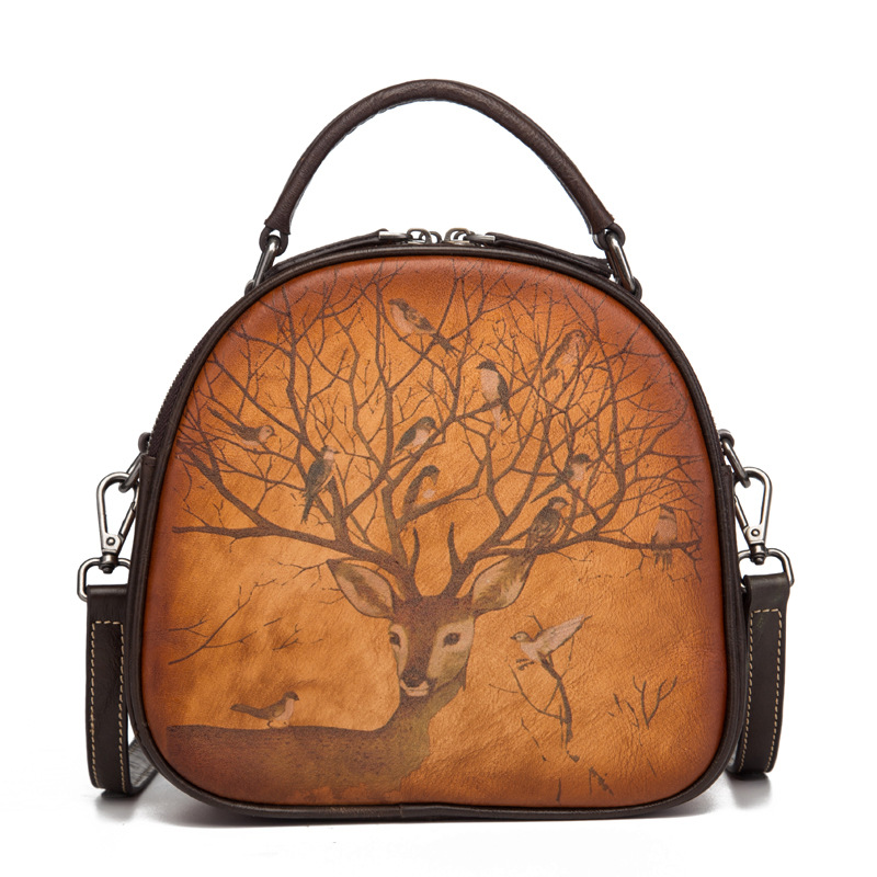 Genuine Leather Top Handle Bag Deer Pattern Crossbody Circular High Quality Natural Skin Women Messenger Tote