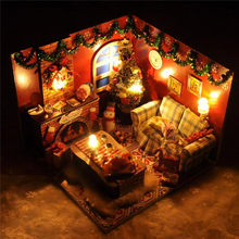 DIY Wood Dollhouse Toy Model Mini Christmas Home Furniture Furnish LED Light Doll House Kids Assemble Block Gift With Dust Cover(China)