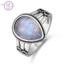 New Arrival 9X13 pear shape Woman Wedding Real Moonstone 925 Silver Jewelry Rings Hollow Design Fashion Ring Wholesale Jewellery