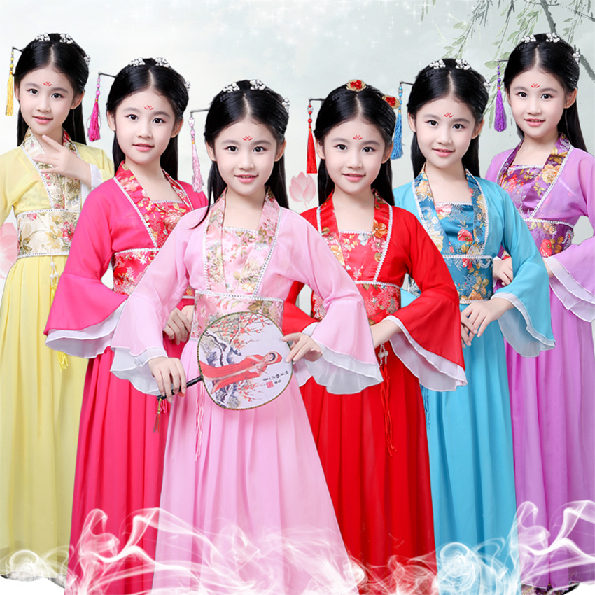 100-170cm Chilidren Chinese Folk Dance Traditional Hanfu Girls Ancient Fairy Stage Costumes Woman Ethnic New Year Dress