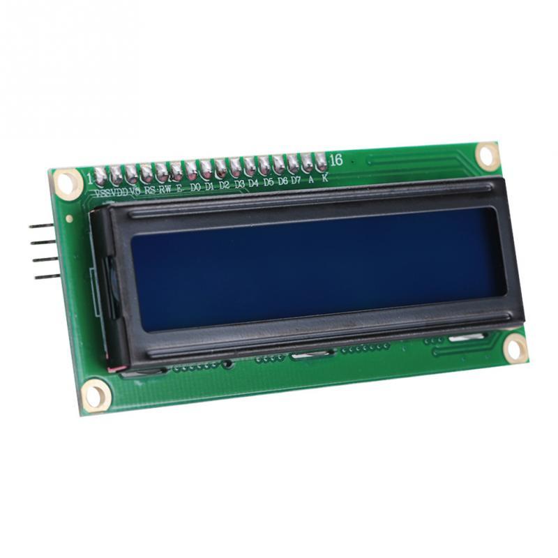1 pces iic/ic2 interface lcd1602 placa de adaptador 16x2 caracteres display lcd módulo 5v tela azul contraste ajustável para arduino