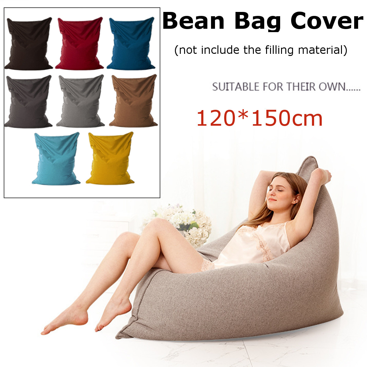 Lazy BeanBag Sofas Cloth Lounger Seat Bean Bag Sofa Cover Chairs Pouf Puff Couch Tatami Living Room Furniture 150x120cmLazy BeanBag Sofas Cloth Lounger Seat Bean Bag Sofa Cover Chairs Pouf Puff Couch Tatami Living Room Furniture 150x120cm