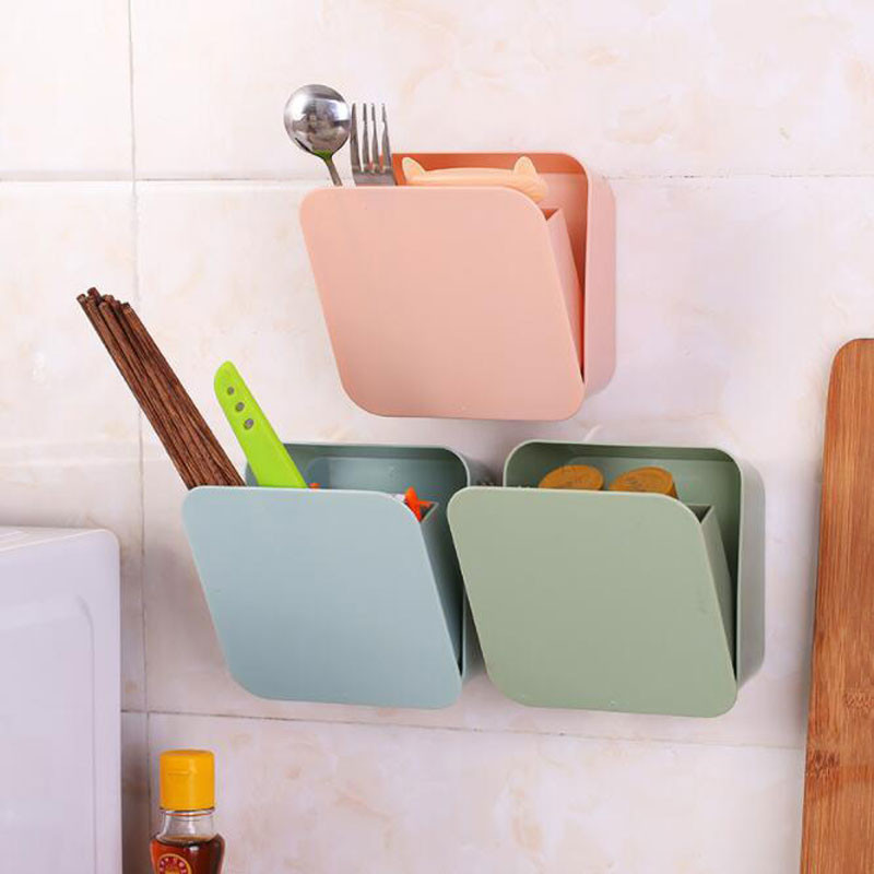 Strong Paste Wall-mounted Square Storage Box Household Tableware Toothbrush Cosmetic Storage Holder image