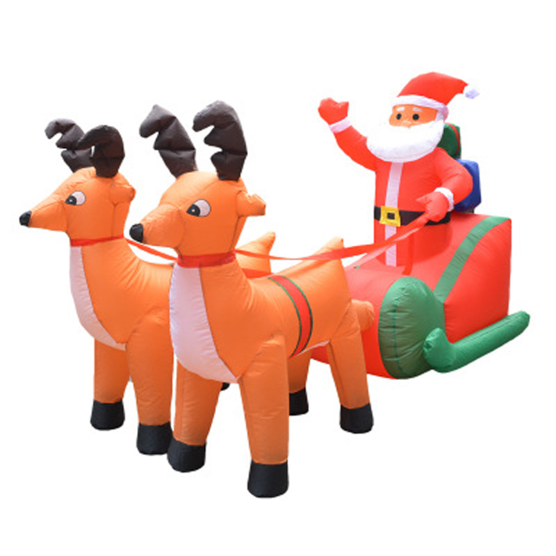 210cm Giant Inflatable Santa Claus Double Deer Sled LED Lighted Outdoor Christmas Decor New Year Decor
