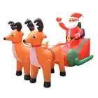 210cm Riesigen Aufblasbaren Santa Claus Doppel Deer Schlitten LED Beleuchtet Im Freien Weihnachten Decor Neue Jahr Dekor Weihnachten Requisiten Ornamente 2019