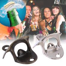 Открывалка для бутылок, винтажная нержавеющая сталь, настенный штопор для вина пива, инструмент для бара, аксессуары для питья, вечерние принадлежности для дома, прочные