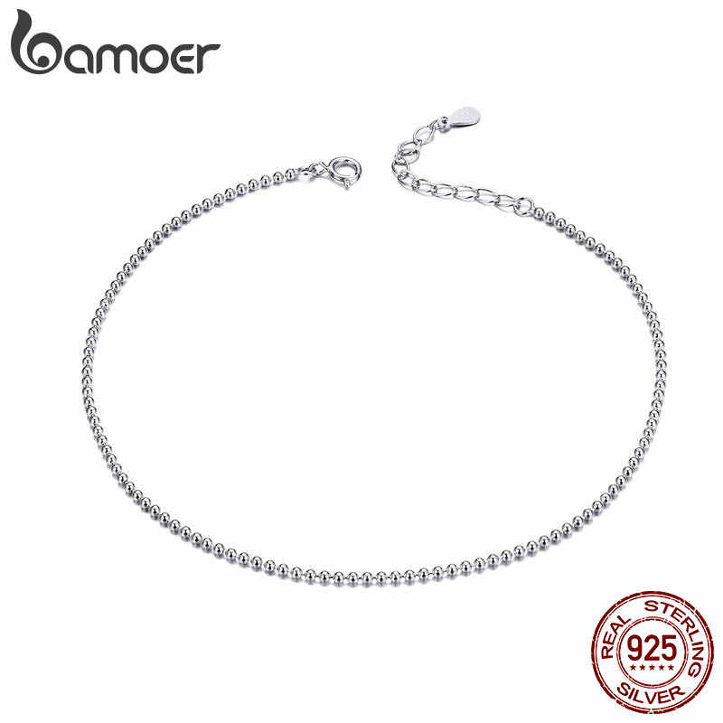 BAMOER Hot Sale Simple Essential Bead Link Anklets 925 Sterling Silver Bracelet for Foot Jewelry Silver Female Leg Chain SCT002