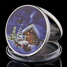 2018 Merry Christmas Santa Claus And Deer Silver Gift New Year Home Decoration Collectibles Coin