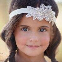 YUZEHD 1 PC diamantes de imitación DIY flores con hojas diademas para niños banda para el cabello accesorios para el cabello para niñas fotografía Prop regalo