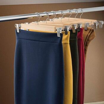 Houten Rok Hangers Met Verstelbare Clips Pack Van 10 Non-Slip Broek Hanger Natuurlijke Afwerking Lotus Houten Broek Hangers, 360 D