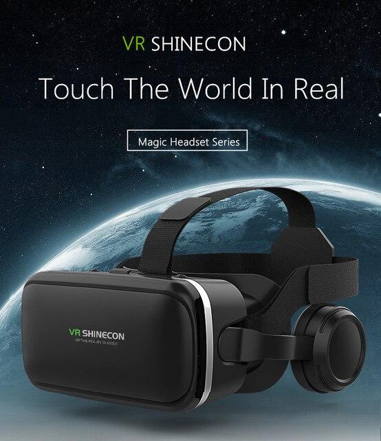 VR Shinecon 6.0 3D VR קסדת 360 תואר סטריאו תיבת אוזניות עבור 4.7 6.0 אינץ אנדרואיד/IOS Smartphone מציאות מדומה משקפיים