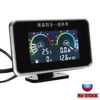 New 12V 24V 4in1 LCD Car Digital Gauge Oil Voltage Pressure Fuel Water Temp Meter M10 Auto Replacement Parts