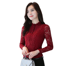 Women Blouse 2018 Autumn New Fashion Lace Hollow Long Sleeve Female Pullover winter Plus velvet Keep Warm size Feminine Top