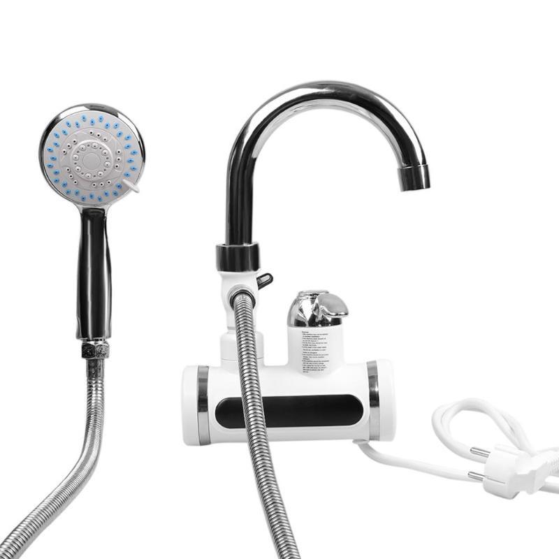 3000 w Affichage de La Température Électrique Chauffage Instantané Chauffe-Eau Robinet D'eau Froide Chaude Robinet UE Plug Cuisine filtre à eau pièces